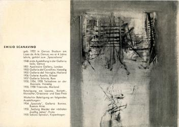 Catalogo per la mostra Scanavino Galerie Schmela, Dusseldorf, 3-20 Aprile, 1959 | Catalogue for the Scanavino exibition, Galerie Schmela, Dusseldorf,  3-20 April, 1959